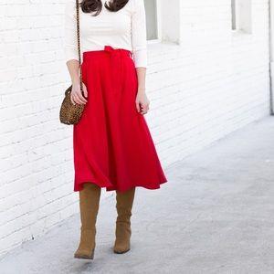 NWT Sezane Arizona Jupe Red Silk Skirt, 36
